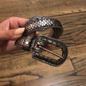 Express Accessories - Silver skinny snake skin belt